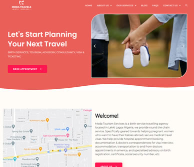 Moda Birth Tourism Website - Web Design Agency in Lagos | Full Digital Marketing Services